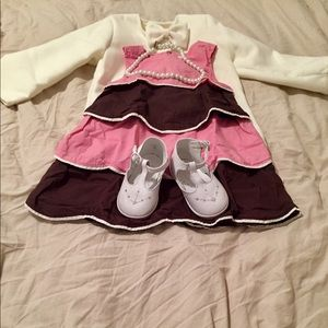 Toddler Girl 2T Gymboree Pink & Brown Layer Dress